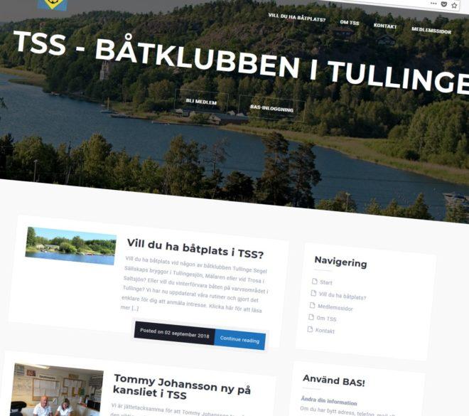 Båtklubben TSS webbplats håller på att uppdateras