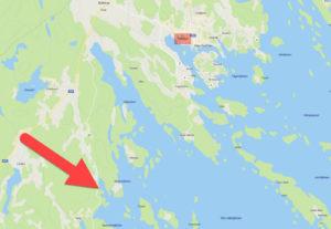 Karta - Bryggorna vid Piparholmen utanför Trosa i Saltsjön - TSS Båtklubb