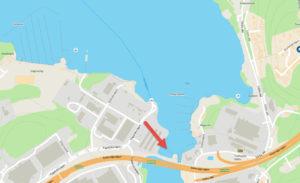 Placering av bryggan i Vårby. Karta från Hitta.se - TSS Båtklubb