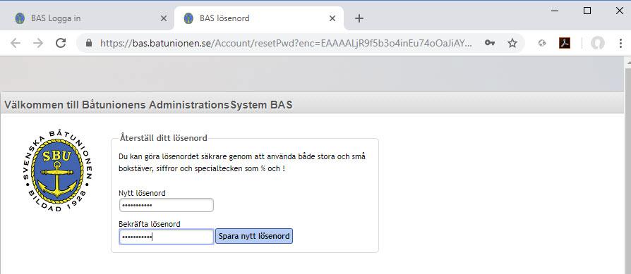 04 Återställ ditt lösenord - TSS din båtklubb i Tullinge & Mälaren