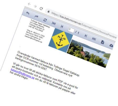 Fakturabild TSS - din båtklubb i Tullinge och Mälaren