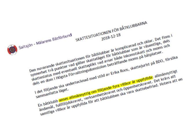 Skattesituationen för båtklubbar - TSS Båtklubben i Tullinge