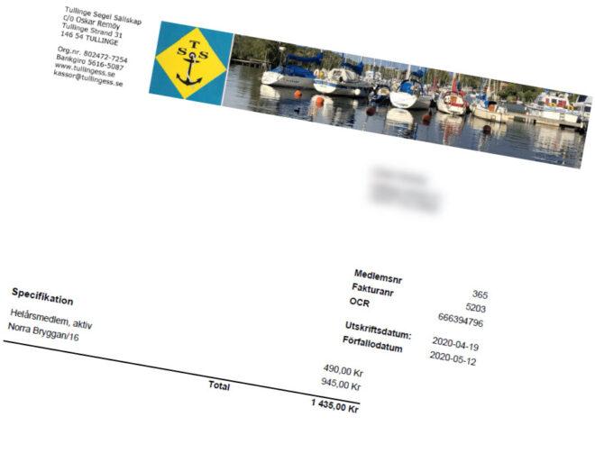 TSS båtklubb fakturor 2020