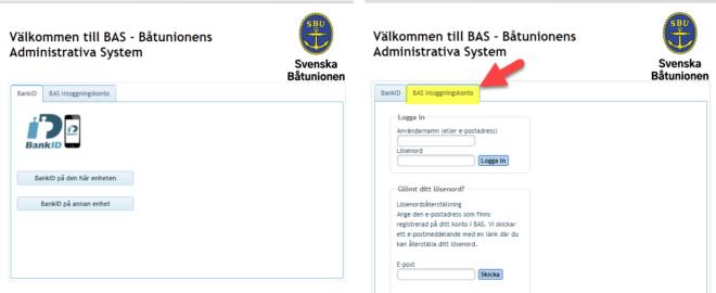 BAS inloggning med BankID eller SMS - TSS - Båtklubben i Tullinge